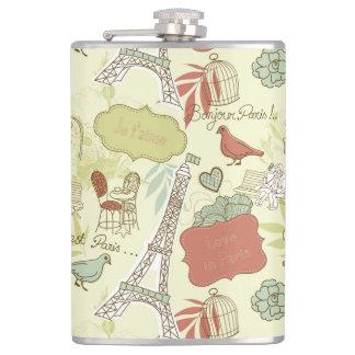 Love in Paris Pattern Flasks