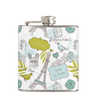 Love in Paris Pattern Hip Flask