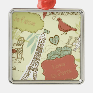 Love in Paris Pattern Metal Ornament