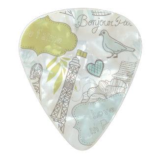 Love in Paris Pattern Pearl Celluloid Guitar Pick
