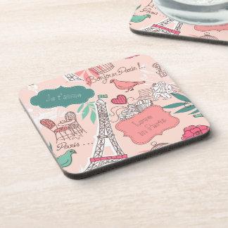 Love in Paris Pattern Pink Beverage Coasters
