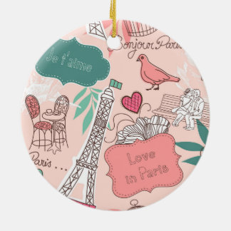 Love in Paris Pattern Pink Ceramic Ornament