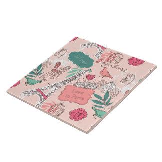 Love in Paris Pattern Pink Ceramic Tile