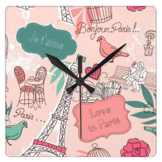 Love in Paris Pattern Pink Clock