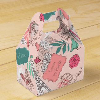 Love in Paris Pattern Pink Favour Box