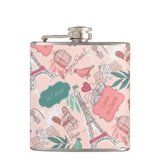 Love in Paris Pattern Pink Flask