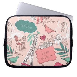 Love in Paris Pattern Pink Laptop Sleeve