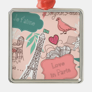 Love in Paris Pattern Pink Metal Ornament