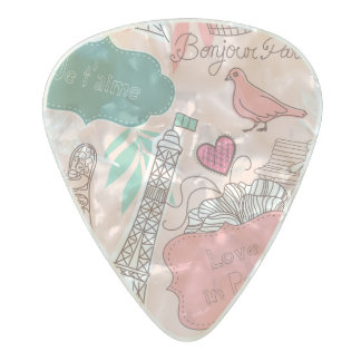 Love in Paris Pattern Pink Pearl Celluloid Guitar Pick