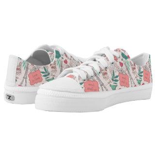 Love in Paris Pattern Pink Printed Shoes