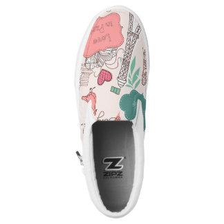 Love in Paris Pattern Pink Slip-On Shoes