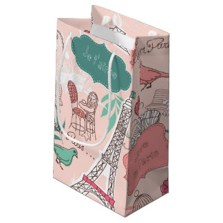 Love in Paris Pattern Pink Small Gift Bag