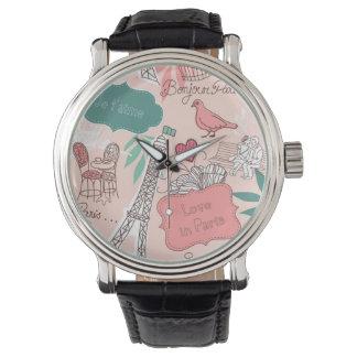 Love in Paris Pattern Pink Watch