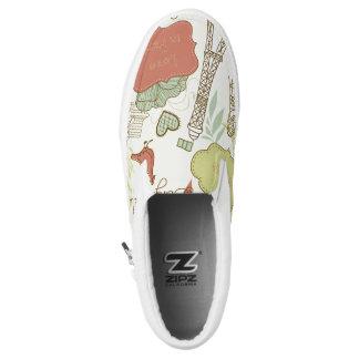 Love in Paris Pattern Slip On Shoes