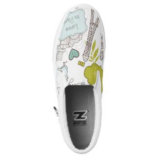 Love in Paris Pattern Slip-On Shoes