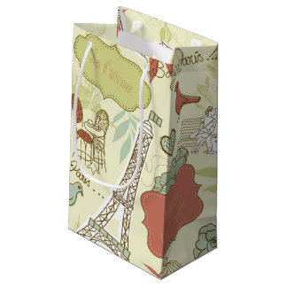 Love in Paris Pattern Small Gift Bag