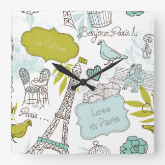 Love in Paris Pattern Square Wall Clock