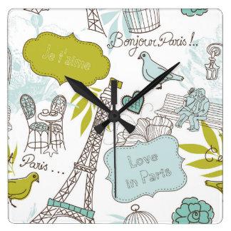 Love in Paris Pattern Wall Clock