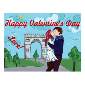 LOVE IN PARIS VALENTINES DAY POSTCARD