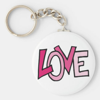 LOVE in Pink Captialized Letters Keychains