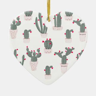 Love in the Desert Cacti Pattern Ceramic Ornament