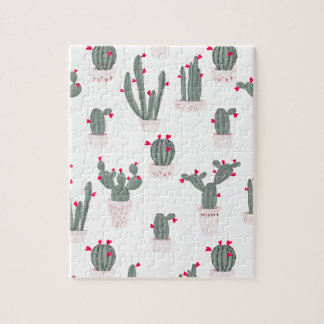 Love in the Desert Cacti Pattern Jigsaw Puzzle