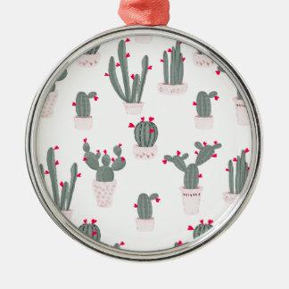 Love in the Desert Cacti Pattern Metal Ornament