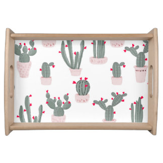 Love in the Desert Cacti Pattern Serving Tray