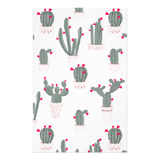 Love in the Desert Cacti Pattern Stationery