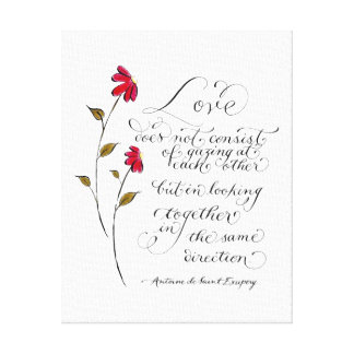Love in the same direction love quote typography canvas print