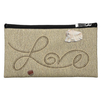Love in the Sand Suede Cosmetic Bag by Julie