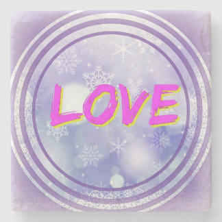 """Love"" in Warm Colours on Marble Coaster Stone Beverage Coaster"