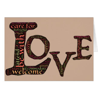 Love in word-art form that defines true connection greeting card