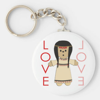 Love Indian Doll Basic Round Button Key Ring