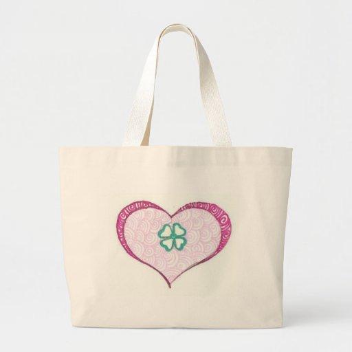 Love irish clover leaf henna tote bags