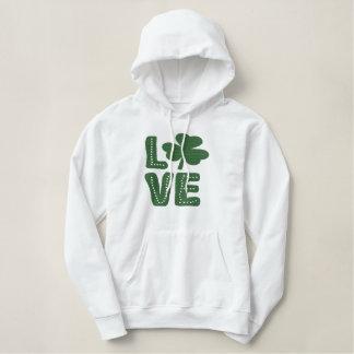 Love Irish Shamrock St Patricks Day Green Embroidered Hoodie