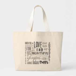 Love is 1 Corithians 13 Large Tote Bag