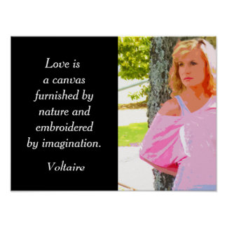 Love is a canvas -- Voltaire quote - art print