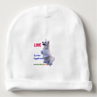 Love is a four legged word baby beanie