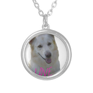 Love is a four legged word silver plated necklace