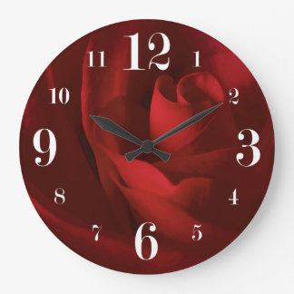 Love is a Red Rose Floral Large Clock