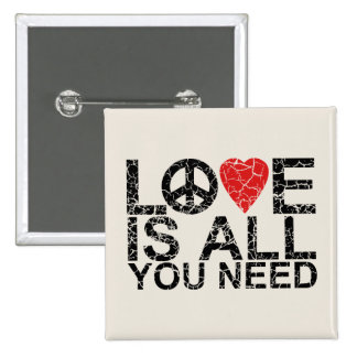 Love is All 15 Cm Square Badge