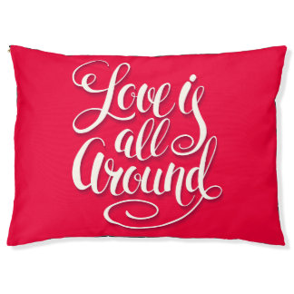 Love Is All Around Script Lettering Pink Pet Bed