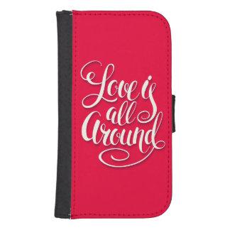 Love Is All Around Script Lettering Pink Samsung S4 Wallet Case