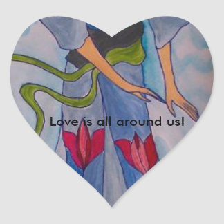Love is all around us heart sticker