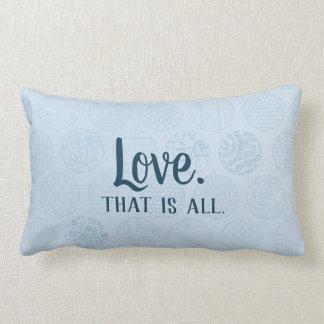 Love is all.  Blue Circles Pattern Lumbar Cushion
