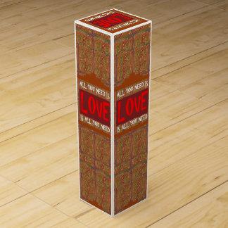 LOVE IS ALL U NEED: SCRIPT QUOTE FUN Wine Gift Box