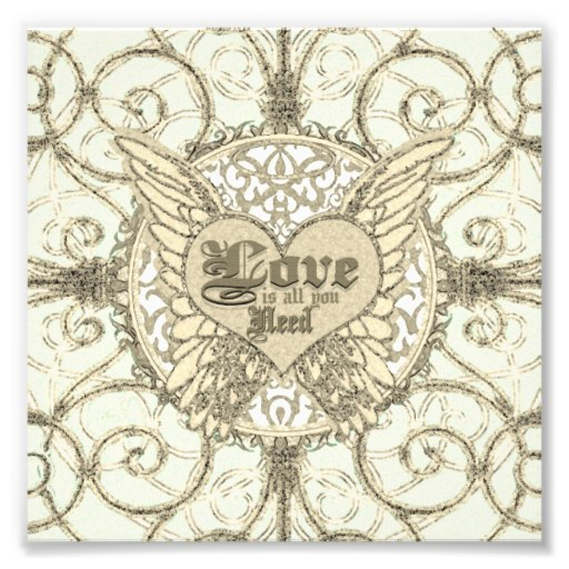 Love is All You Need Angel Wings & Heart Photo