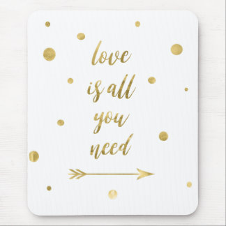 Love is all you need gold dots mouse pad