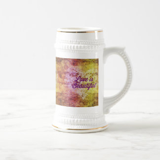 Love is Beautiful Abstract Colorful Heart 18 Oz Beer Stein